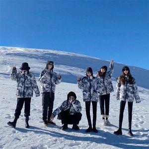 Iuiu ajing men's and women's snow mountain printing fashion brand couple down jacket women's winter 2020 new bread coat