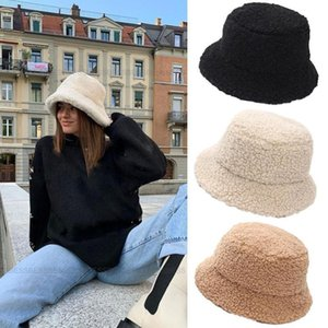 Fashion Winter Hat for Women Fur Bucket Warm Caps Letter Panama Black White Vintage Fisherman Bucket Causal Hats Chirstmas Gifts