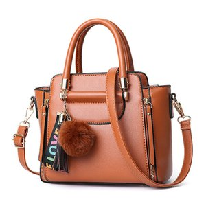 LANZHIXIN Tassel Fur Ball Hanging Women Shoulder Crossbody Bag Solid Color Soft PU Leather Zipper Bags Ladies All-match Handbags