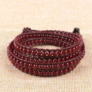 Red Semi-Precious Stone Round Beads Strand Bracelet Bohemian 4 Wrap Bracelets Handmade Casual Jewelry Unisex Gift