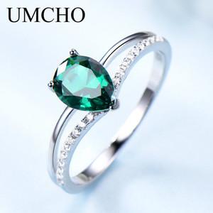 Umcho Yeşil Zümrüt Gemstone Yüzükler Kadınlar Için 925 Ayar Gümüş Takı Romantik Klasik Su Damlası Yüzük Sevgililer Günü Hediyesi Y1119