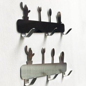 3 Hooks Kitchen Stainless Wall for Cactus Steel Tableware Hanging Bathroom Hanger Clothes Key Punching-free Peg