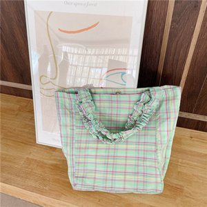 Designer-Large Capacity Women Portable Handbags Fashion Design Plaid Ladies Shoulder Bags Candy Colour Girls Beach School Bag Casual Tote