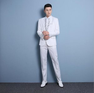 High quality Sequin suit Korean Slim stage chorus costume men's Suits singer host Men clothing fashion Groom's wedding dress