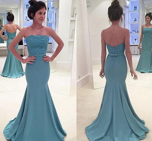 Turquoise Mermaid Evening Dresses Elegant Strapless Prom Dresses Zipper Back Bridesmaid Dresses Party Occasion Gowns