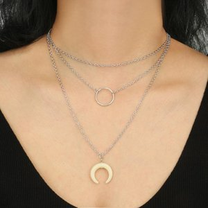 Brling New 2020 Fashion ins vintage Chain Pendant Choker Simple hollow round horns Necklace for women Girls Gifts Party