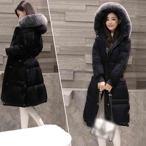 2020 New Arrival Womens Down Jacket Big Fur Collar Hoody White Duck Down Coat Slim Solid Warm Feather Outwear Female Parka