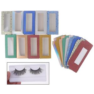 10 satt / los 25mm Flash Leere Wimpern Square Box für Paket Papierkasten Farbe Karton mit Tablett DIY Benutzerdefinierte Logo Flash