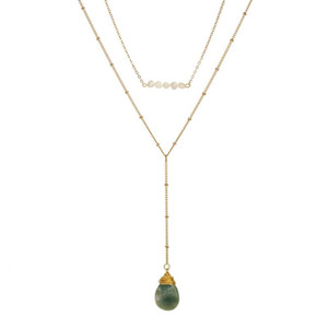 Natural Green Stone Pendant Necklaces for Women Imitation Pearls Clavicle Chain Gold Color Layered Necklace 2020 Fashion Jewelry