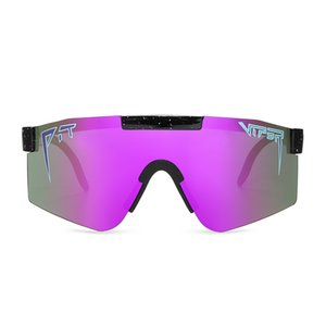 Oversized Purple Mirrored Sunglasses Men Sport polarized eyewear adjustable tr90 frame uv400 Protection Pit viper