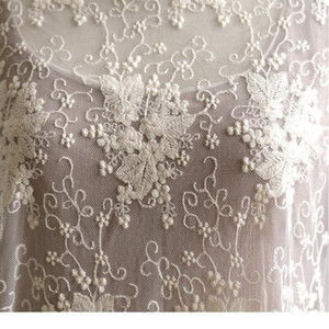 Beautiful 135cm Width 1m lot 3d Embroidered Beige white Lace Fabric Soft Net Fabric Sewing Curtain Diy Craft Access jllgdX