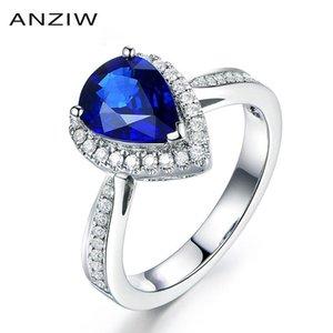 Anziw Trendy 1 Pear Cut Blue Sona Halo Rings 925 Стерлинговое серебро Свадьба Обручальная водяная Падение Годовщины Любовник Подарки