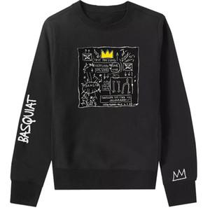 Basquet Jean Michel Basquiat Art Co di marca degli uomini allentata e manica lunga donna Maglia girocollo Top