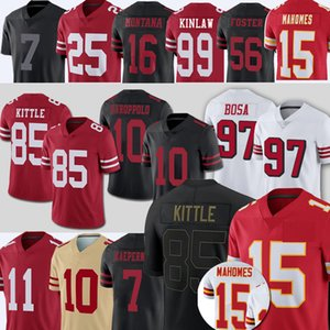 85 George Kittle 99 Javon Kinlaw 15 Patrick Mahomes 25 Richard Sherman Football Jerseys 49 Jimmy Garoppolo Colin Kaepernick 11 Brandon Aiyuk