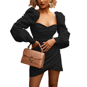 Puff Sleeve Mini Dresses Womens Designer Solid Color Sexy Long Sleeve Bodycon Dress Irregular Autumn Women Patry Clothes