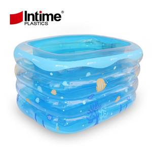 Aufblasbarer pool transparentes rechteck aufblasbare baby schwimmen faltende tragbare badewanne 143x105x75cm blau weiße fische gedruckt