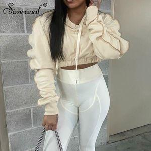 Simenual Rahat Sıcak Uzun Kollu Mahsul Hoodies Kadınlar Katı Polar Güz Kış 2021 Tişörtü Streetwear Spor Egzersiz Üst
