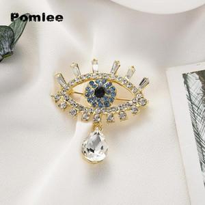 Pomlee Eye Shape Crystal Brooch Neo-Gothic Donne Accessori Coreano Moda in lega di moda camicetta medicale femme broches para ropa