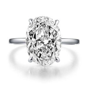Vecalon Dazzing 925 Anillo de compromiso de plata esterlina Corte ovalado 5ct Diamond CZ Banda de boda Anillos para mujer Joyería dedo