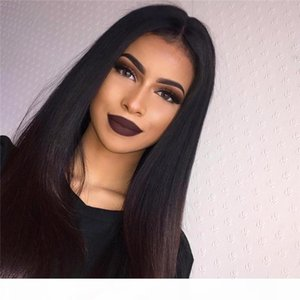 Peruvian 100% Real Human Hair Silky Straight Full Lace Wig Lace Front Wig 130%-180% Density in stock
