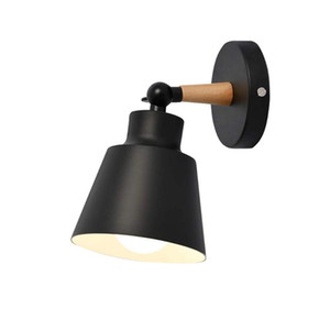 Vintage Industrial Wall Sconce Lights E27 Indoor Bedroom Bathroom Balcony Bar Aisle Lamp Nordic Wooden belt Wall Light White Bla