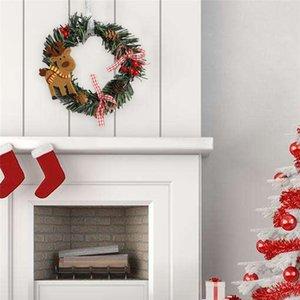 Muñeco de nieve Ciervos de ciervo Paño de arte corona de arte Ratán Reed Guirnalda Guirnalda Navidad Decoración adornos Suministros de fiesta Decoración para el hogar PPD3336