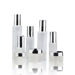 Frosted glass cosmetic jars pump bottles with bright silver cap 30g 50g 30ml 100ml 120ml body lotion lip balm cream containers
