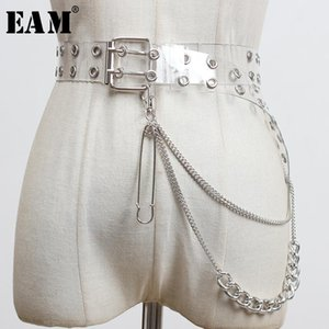 [EAM] PVC Metal Chain Hollow Out Split Joint Long Wide Belt Personality Women New Fashion Tide All-match Spring 2020 1Y682