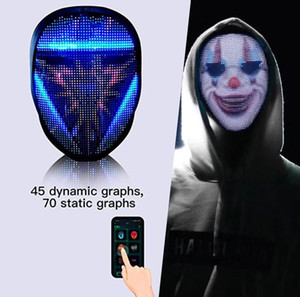 Light Control Cyberpunk Smart Led Up Cosplay Led APP Face Mask For Adults Led Party Programmable Mask Change Mask Costumes Face Party M Fjeu