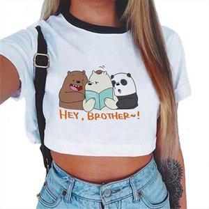 Women T shirt 2020 Summer Graphic Tee Shirt Female Funny Three Bear Vogue Harajuku T Shirt Tops Kawaii Novelty Streetwear TShirt