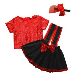 Sequin Girls Outfits Baby Suits Toddler Clothes Short Sleeve T Shirt+Suspender Skirt+Headbands Princess Kids Sets 1-5Y B3779