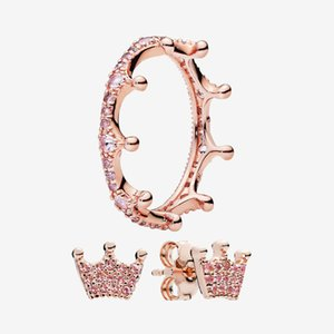 luxury designer RING and EARRING sets Original box for Pandora Rose gold plated Pink Sparkling Crown Ring Stud Earrings for Women