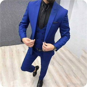 New Arrival Groomsmen Peak Lapel Groom Tuxedos One Button Men Suits Wedding Prom Dinner Best Man Blazer ( Jacket+Pants+Tie+Vest ) K806