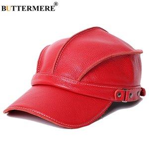 Buttermere 2020 Béisbol gorra de béisbol Mujeres Red Genuine Cow Cuero Snapback Caps Ivy Female Ajustable Otoño Invierno Marca Béisbol Hat Z1202