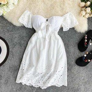 New Sexy Strapless White Dress V neck Padded Stretchy Back Women Summer Off shoulder Fairy Mini Vestidos hollow lace V neck back