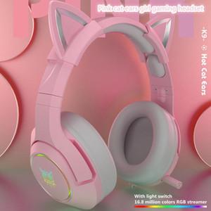 신제품 K9 핑크 고양이 귀마개 귀여운 소녀 게임 헤드셋과 마이크 ENC 소음 감소 HIFI 7.1 채널 RGB 유선 헤드폰