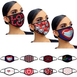 Masque de fête adulte saint valentin cadeau anti-brouillard lavable coton masque d'amour imprimer design de mode réutilisable lavable facémasse