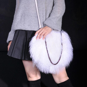 2020 Fashion New Women Mongolia Sheep Fur Handbag Genuine Lamb Fur Tote Bags lady's tote bag lamb female shoulder bag