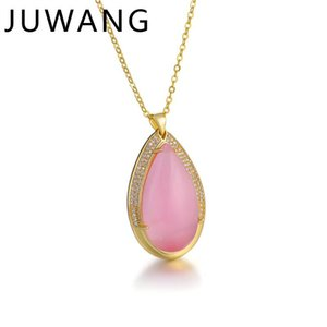 Natural Water Drop Pendant Necklace Engagement Wedding Statement CZ Crystal Necklace For Women Charm Fashion Jewelry 3 Color