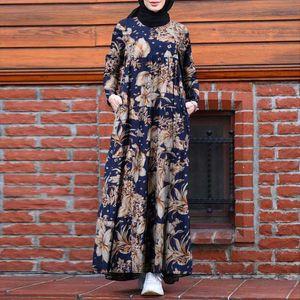 Women Vintage Floral Printed Dubai Abaya Turkey Hijab Dress ZANZEA Autumn Long Sleeve Maxi Sundress Retro Kaftan Muslim Vestido