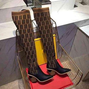 Luxus 2021 Neue Mode Damen 22 Zoll gestrickte Socken Stiefel 9,5 cm Weibliche Oberschenkel Hohe atmungsaktive hochelastische Stiefel Spitze Kurzer Absatz Lux