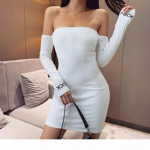 Sexy Off the Shoulder Bodycon Dress Long Sleeve White Black Womens Tube Top Bodycon Dress Ladies Slim Fit Party Dress Casual Rave Outfit