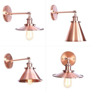 Coppery Bedroom Bedside Living Hotel Dining Room Bar Iron Decoration Bronze Vintage Retro Led Wall Lamp Indoor Light Lampshade
