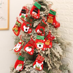 SAQUIN STRIPE MINI MINI DE NOËL Bas de Noël Haute Qualité Candy Sac-cadeau de Noël Hang Santa Claus Bonhomme de neige Arbre de Noël Ornement Sock HWWE3093