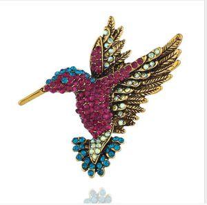 Nova Chegada Diamante-incrustado beija-flor Brooch, broche animal personalizado, pino de roupa, lenço fivela dupla-uso