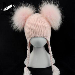 Kids Real Fur Pom Pom Hat Baby Winter Crochet Earflap Hat Girls Boys Knitted Beanie Double Two Real Fur Pompom Hat for Children LJ201124