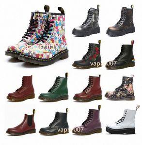 2021 Diseñador de moda 1460 Tobillo 1461 Dr. Plataforma Martin Fox 2976 Detalle Zip Detalle Hombres Mujeres Mujeres Piel Snow Martins Boot Desert Doc Boots 36-45