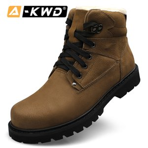 High Quality Winter Boots Working Man Safety Genuine Leather Khaki Fashion Size 37-48 Elevator Shoes for Men Q1202