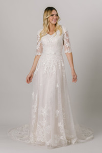 2021 Champagne Modest Wedding Dresses Half Sleeves V Neck Buttons Back Lace LDS Bridal Gowns Country Religious Bride Dress
