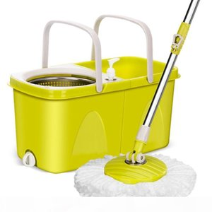 Floor Mop With Metal Bucket Automatic Clean and Dry Mop Wiring Spin Bucket Magic Flat Bathroom Household Cleaning Tools